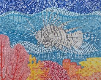 Cayman Lionfish Zentangle Drawing, 8x10 print