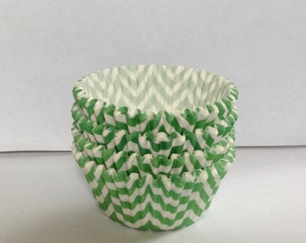Clearance! 75 count - Greaseproof  Lime Green with chevron design standard size cupcake liners/baking cups