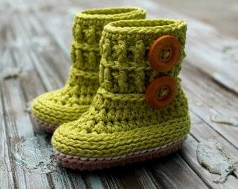"Crochet Pattern, baby booties , ""Wellington"" Baby Booties, Booty Pattern, Green Girls Boots PATTERN ONLY"