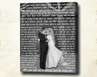 Wedding canvas print. Anniversary Gift. Gallery Wrapped Canvas Print. First Dance, Wedding Songs, Lyrics.  Cotton canvas print.