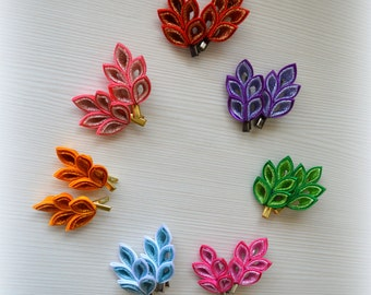 Kanzashi fabric flowers hair clip (a set from 2 pieces)