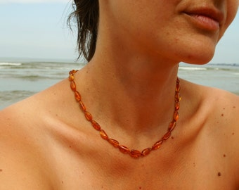 SPECIAL OFFER Baltic Amber Necklace for Mother Women necklace knotted cognac polished olive beads