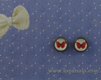 8mm Red Butterfly Stud Earrings