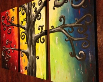 MADE TO ORDER free shipping 3 piece Abstract Curly Tree painting