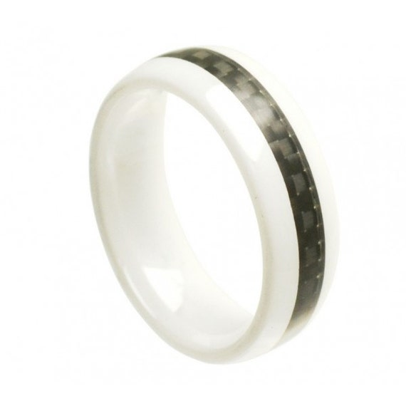Ceramic Ring FREE ENGRAVING Mens Wedding Band By TungstenRingUsa
