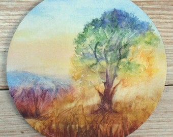 Tree and Grass Fine Art Mouse Pad Original Watercolor Pastel