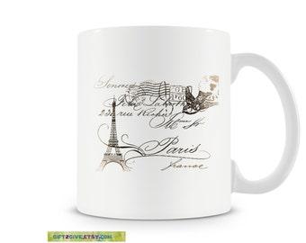 Coffee Tea or Hot Cocoa Mug Paris Eiffel Tower Dove