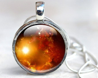 Space Glass Necklace - Space Glass Pendant Necklace (Space 9)