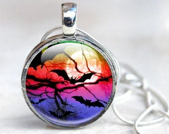Bat Necklace, sunset Bats Picture Pendant, Wearable Art Glass Dome Necklace Picture Necklace Photo Pendant red, blue, full moon with bats