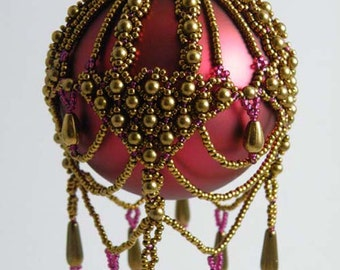 Beading Tutorial - Beaded Brocade Ornament