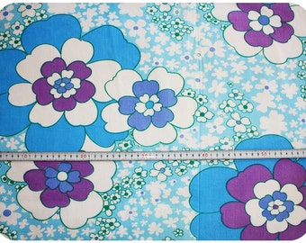 Floral retro vintage fabric - blue, purple and green