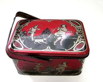 Art Nouveau Tin Box, Vintage Tin Box, Children's Lunch Box, c. 1910, Antique Tin Box, Red Storage Container, Tea Tin, Biscuit Tin, Candy Tin