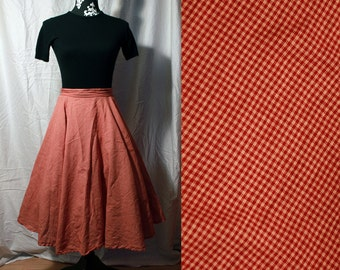 1950s Vintage Style Circle Skirt With Red and Cream Plaid Print