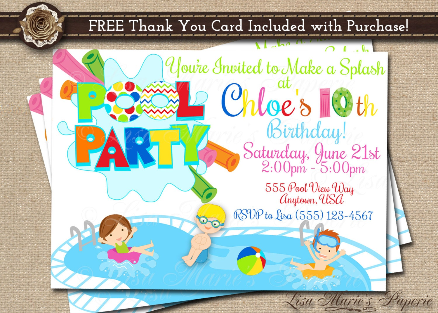 pool party invitation pool invitation pool birthday. Black Bedroom Furniture Sets. Home Design Ideas