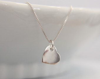 Personalized Sterling Silver Heart Necklace, Custom Initial Heart Necklace