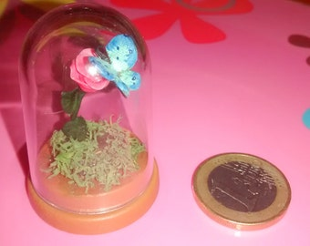 Dolls House 12th Scale butterfly on rose in dome