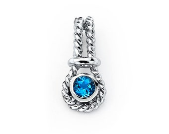 Sterling Silver Twisted Rope Blue Topaz Pendant,Blue Topaz,Sterling Silver,Pendant,Jewelry,Gemstome,Birthstone,December Birthday