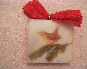 Mixed Media Encaustic Painting Ornament of a Wren