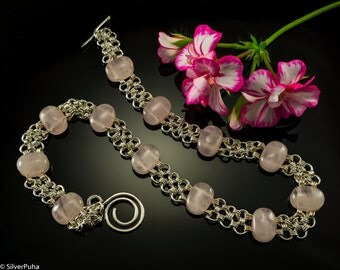 Rose quartz Japanese chain-maille silver necklace