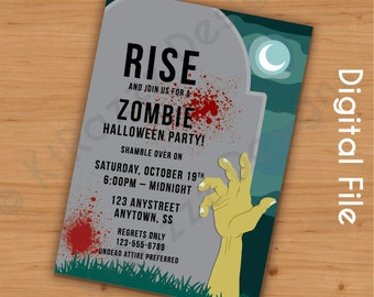 Zombie Party Customizable Invitation - Digital File