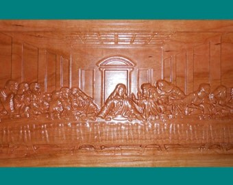 Last Supper Carved Wood Plaque Rustic Decor Rustic Wall