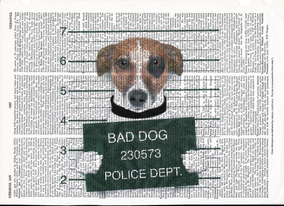 Vintage Dictionary Art Print Bad Bad Dog on Upcycle Vintage Page Book Print Art Print Collage PrintGiclee Print