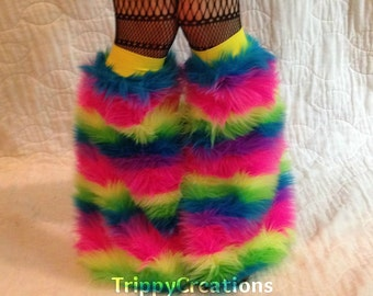 Fluffies UV pastel rainbow fluffie leg warmers. Great for raves, festivals, and gogo dancers.