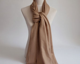 Wool cashmere scarf - Brown Wool Scarf- Large Brown Premium Wool Scarf - Long brown Wool Shawl - BS2014