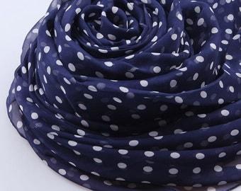 Blue Silk Chiffon Scarf - Blue Dot Printed Silk Scarf- Blue Silk Chiffon Scarf with Small Polka Dot Print -2014-2