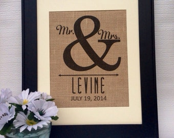 Personalized Burlap ampersand print wall art Mr & Mrs. Established since year