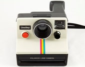 Vintage Polaroid OneStep SX-70 White Rainbow Stripe Instant Land Camera  - Tested & Working