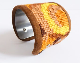 Metal and canvas vintage mustard Cuff Bracelet