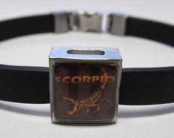 The Scorpion Scorpio Zodiac Sign Link With Choice Of Colored Band Charm Bracelet