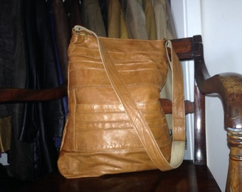 "VIOLET -Large Cross Body Bag, Recycled leather, Upcycled leather bag,Tan leather,black leather,brown leather,harris tweedx 17""x14x 4"""