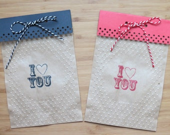Kraft paper bags 10 kits, beaded decoration and printing I LOVE YOU, measuring 18 cm * 12 cm