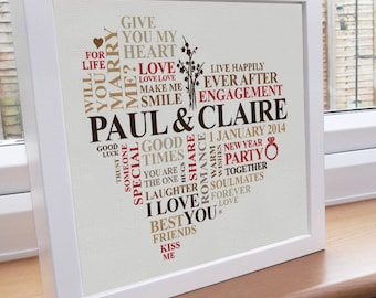 Personalised print. Engagement gift. Custom word art picture. Romantic ...