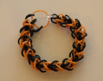 Diamond weave Rubber band Bracelet By Brittani    black and gold  or Custome colors Latex Free