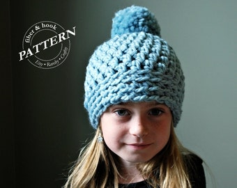 CROCHET PATTERN - Chunky Pom Pom Beanie Crochet Pattern, Chunky Beanie Pattern, Chunky Hat, Pom Pom (Toddler, Youth, Adult Sizes) pdf #010H
