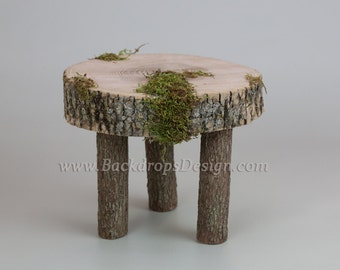 Photo Prop Stump for our Log bed Newborn photography prop hand made night stand Table
