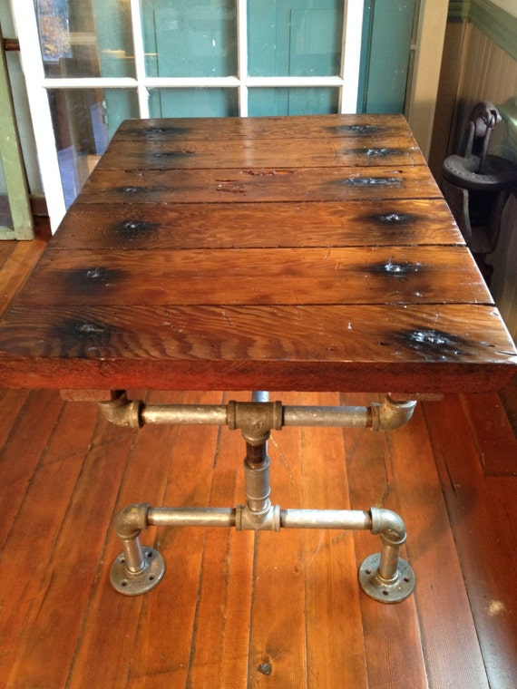 Reclaimed Wood Furniture, Coffee table, Galvanized pipe, industrial, grain  silo hatch