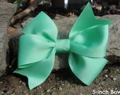 Girl's Hair Bow (Solid Grosgrain Bows)! Large Pinwheel Bows (Navy, Black, Red, White, Green, Pink, Mint)