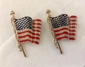 United We Stand 9/11 Flag Pin Set Of 2 Pins Sept 11 Rhinestone & Enamel By Monet Patriotic