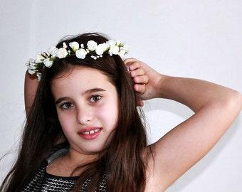 Floral Crown, Flower Girl Wreath, Rose Hair Garland, Ivory Bridal Halo, Flower Girl Crown, Rose Bridal Crown, Flower Girl Halo, Boho Crown