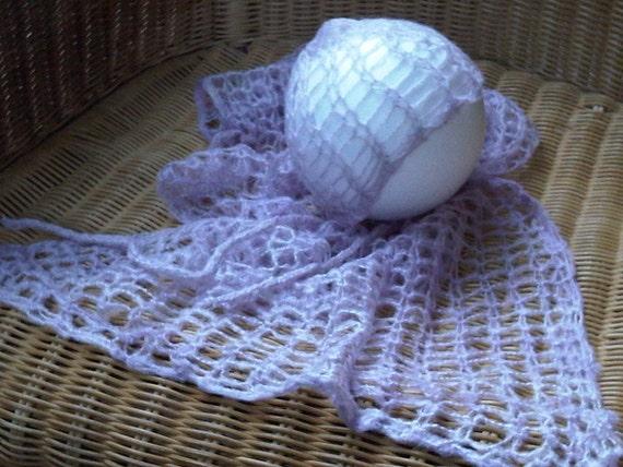Knitting Pattern For Mohair Blanket : Mohair knit blanket & bonnet set LILAC handknitted photo