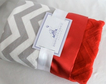 Gray and White Chevron with Solid Red Embossed Minky and Red Satin Trim - Baby Shower, Boy or Girl, Crib Bedding