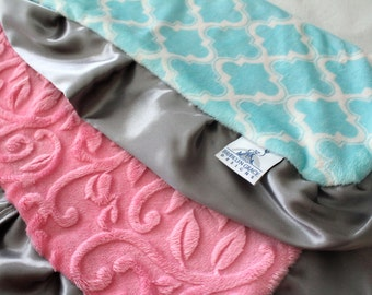 Aqua Moroccan Tile with Sofia Pink Embossed Vine Minky & Charcoal Gray Satin, Lovie, Girls, Baby, Nursery, Crib Bedding