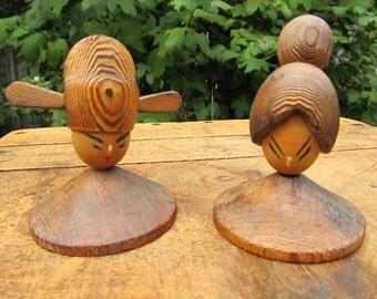 Vintage Wooden Kokeshi Doll Pair - Natural Wood Kokeshi dolls