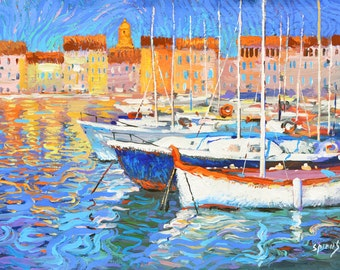 "Original painting ""Evening light"" Modern acrylic  Palette Knife Painting by Dmitry Spiros. Ready to Hang. 32 x 24 in. 80 x 60 cm"
