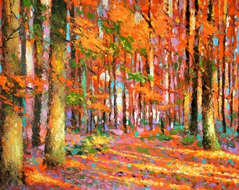 Original fineart --Golden autumn- contemporary wall art acrylic oil palette knife painting by Dmitry Spiros 24x32, 60 x 80cm
