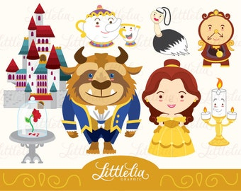 Princess clipart - Belle and Beast clipart set / instant download - 14018